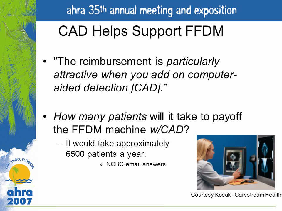 CAD Helps Support FFDM The reimbursement is particularly attractive when you add on computer-aided detection [CAD].